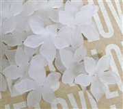 6pc Lucite Star Flowers 27mm Frosted White