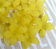 6pc Lucite Star Flowers 27mm Yellow
