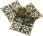 1pc filigree base antique brass 48mm square