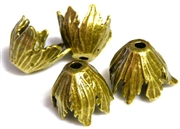 2pc tulip beadcaps antique brass 16mm