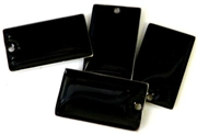 6pc enamel rectangle drop black 25mm