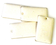 6pc enamel rectangle drop white 25mm