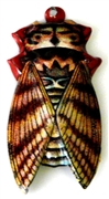 1pc enamel cicada brown stripes 40x30mm