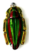 1pc enamel green bug 15x35mm