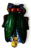1pc enamel charm green beetle 30mm