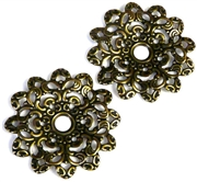 1pc filigree base antique brass wavy flower 45mm