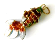 1pc small cloisonne fish red 30x10mm