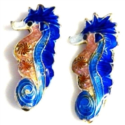 1pc cloisonne seahorse bead 25x10mm dark blue
