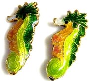 1pc cloisonne seahorse bead 25x10mm green