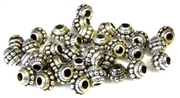 25pc metalized plastic saturn antique silver beads 6mm