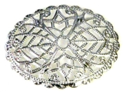 2pc filigree oval silver plated 30x32mm