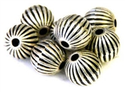 25pc antique silver metalized plastic corrugated rounds 8mm