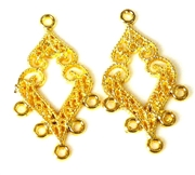 1pr gold plated diamond drops 35x20mm