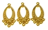 3pc diamond drops gold plated 35x15mm