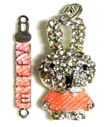 2pc rhinestone miffy pendant 45x6mm pink