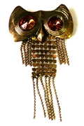 1pc antique brass chain owl 80x41mm