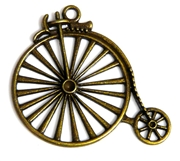 1pc antique brass bike pendant 50x45mm