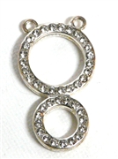 1pc rhinestone double round drop 38x21mm