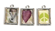 3pc silver plated rectangle charm set 15x24mm