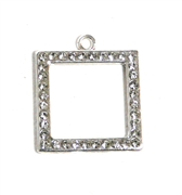 1pc rhinestone square pendant 24mm