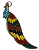 1pc enamel stained glass peacock pendant 9x2.5cm