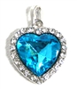 1pc rhinestone heart pendant blue 36mm