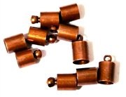 10PC Cord End antique Copper 6mm Plain