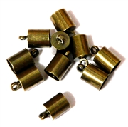 10PC Cord End antique Brass 6mm Plain
