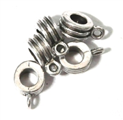 5PC Antique Silver  Tube with Loop 3 Ring 8mm