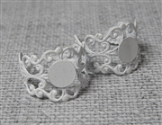 2PC White Filigree Ring Base with Pad