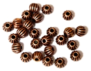 25PC Antique Copper Corrugated Round 6mm