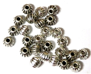 25PC Antique Silver Corrugated Round 6mm