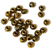 25PC Antique Gold Corrugated Round 6mm