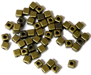 50PC Antique Brass Cube Spacer Beads 4mm