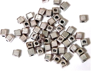 50PC Antique Silver Cube Spacer Beads 4mm