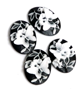 4pc Black Butterfly Resin Cabochon 25x18mm