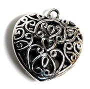 1pc Filigree Silver Plated Puffed Heart Charm 32x30mm