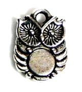 6pc Silver Plated Owl charm 13x10mm