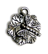 4pc Silver Plated Dragonfly On lilypad charm 15mm