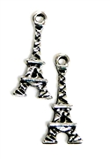 8pc Silver Plated Mini Eiffel Tower Charm 15x3mm