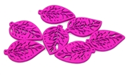 2pc Mini Filigree wooden leaves fuchsia 29x19mm