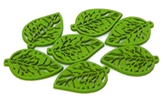 2pc Mini Filigree wooden leaves green 29x19mm
