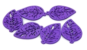 2pc Mini Filigree wooden leaves purple 29x19mm