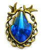 1pc antique brass rhinestone bird pendant blue 36x25mm