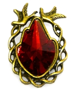 1pc antique brass rhinestone bird pendant red 36x25mm