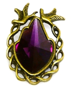 1pc antique brass rhinestone bird pendant purple 36x25mm