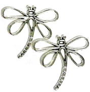 2pc Silver Dragonfly Outline Charm 31x30mm