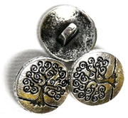 3pc Antique Silver Tree Of Life Button Charm 16mm