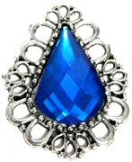 1pc Filigree Teardrop Pendant Blue 44x36mm Silver Plated
