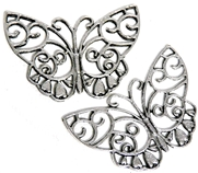 2pc Flat Filigree Butterfly Charm / Pendant 39x25mm